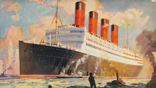 painting of RMS Aquitania