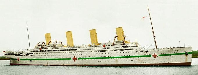 HMHS Brittanic moored WWI hospital ship