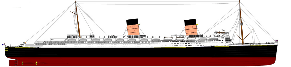 RMS Queen Elizabeth elevation drawing