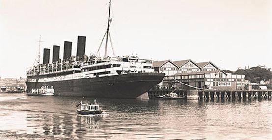 RMS Aquitania steamhip ocean liner docked
