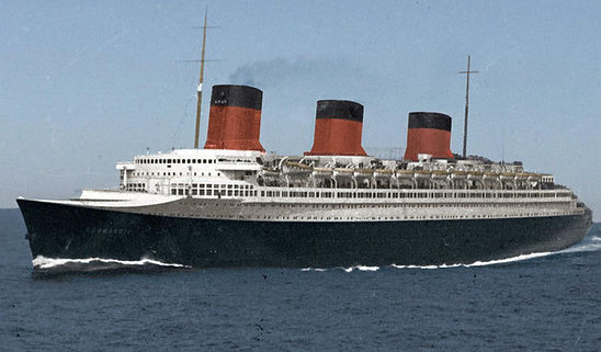 SS Normandie cruising at sea color