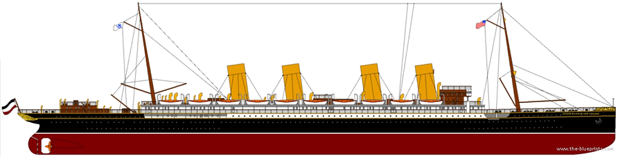 SS Kaiser Wilhelm der Grosse elevation drawing
