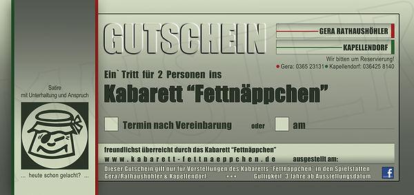 GUTSCHEIN-KABARETT FETTNÄPPCHEN-EINTRITT