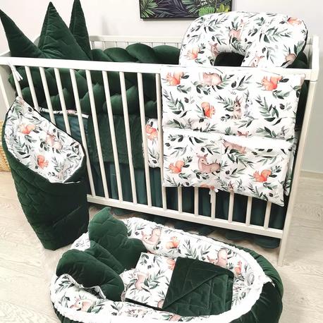 Pościel dla niemowlaka z wypełnieniem Butelkowa zieleń
