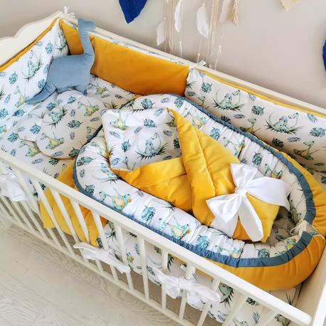 Wyprawka dla niemowlaka do łóżeczka Dino - Musztarda