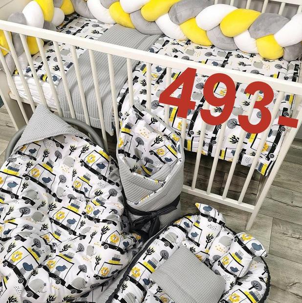 Komplet pościeli dla niemowlaka auta wafelek.jpg