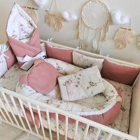 Komplet pościeli do łóżeczka z ochraniaczem dla dziecka