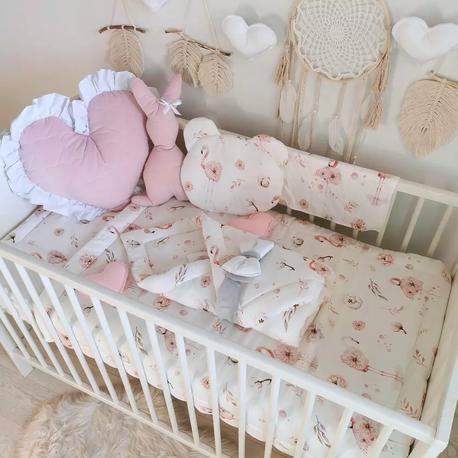 Pościel bambusowa do łóżeczka - Flamingi