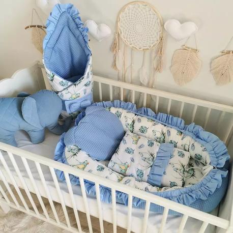 Kokon niemowlęcy zestaw z rożkiem Falbanka - Dino