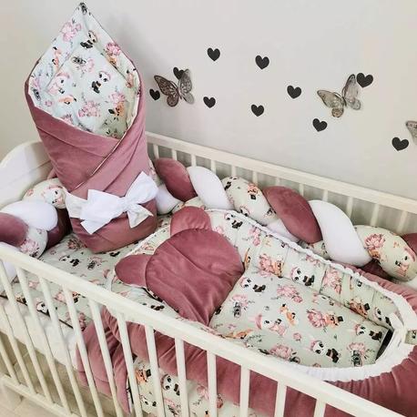 Pościel do łóżeczka dla dziewczynki Brudny róż
