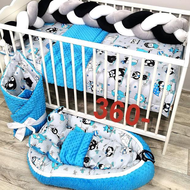 Sowy pościel dla niemowlaka z ochraniaczem Warkocz