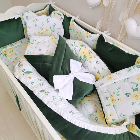 Pościel do łóżeczka dla niemowląt 12el Kwiaty