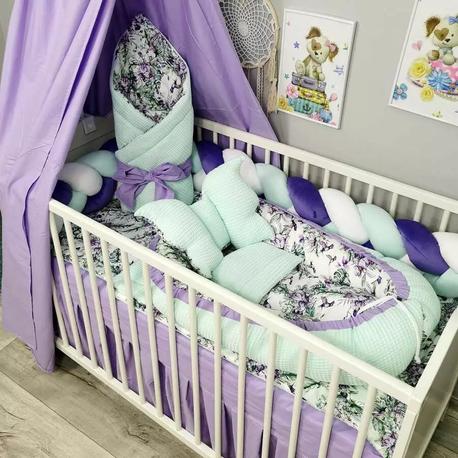 Pościel do łóżeczka dla niemowlaka z baldachimem