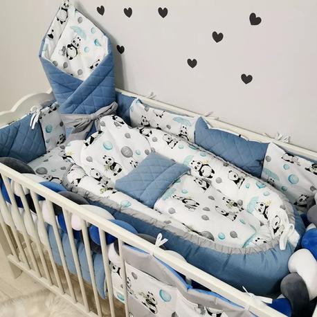 Duży komplet pościeli niemowlęcej do łóżeczka dla chłopca