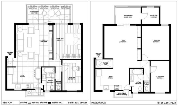 תכנית הדירה- לפני ואחרי