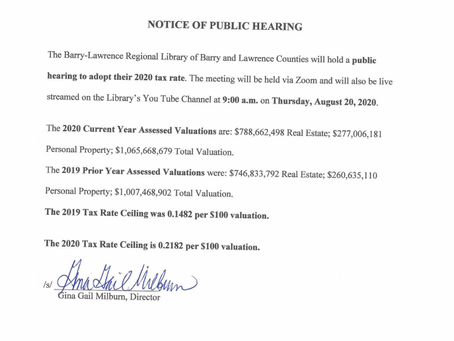 Tax Levy Hearing Notice