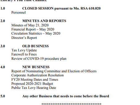BARRY-LAWRENCE REGIONAL LIBRARY BOARD AGENDA:  THURSDAY, JUNE 25, 2020