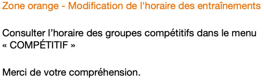 Modification Horaire