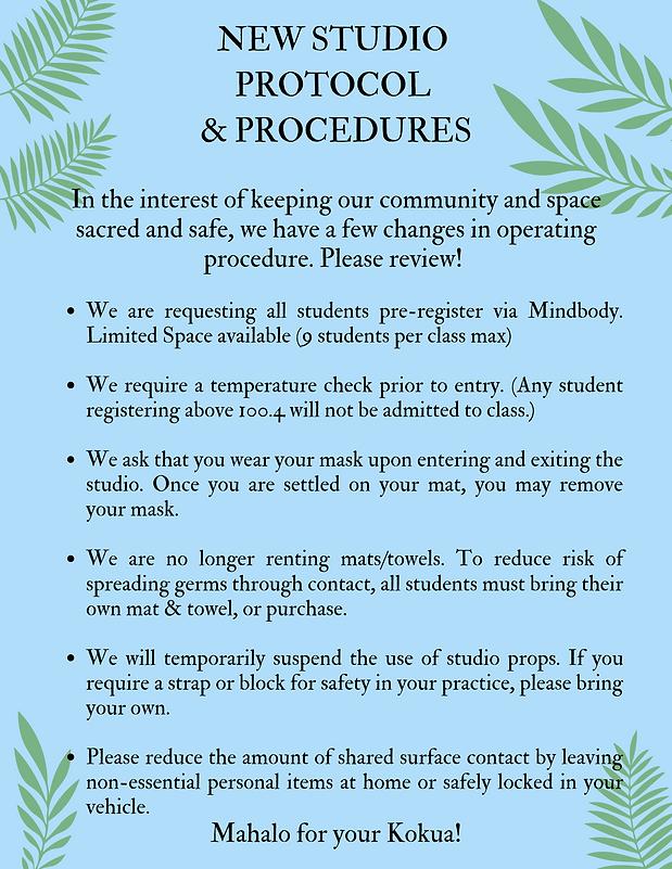NEW STUDIO SAFETY PROTOCOL & PROCEDURES.
