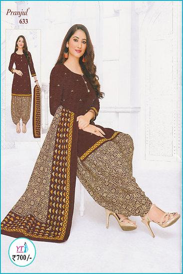 Pranjul Cotton Chudithar - Brown D Pattern YT