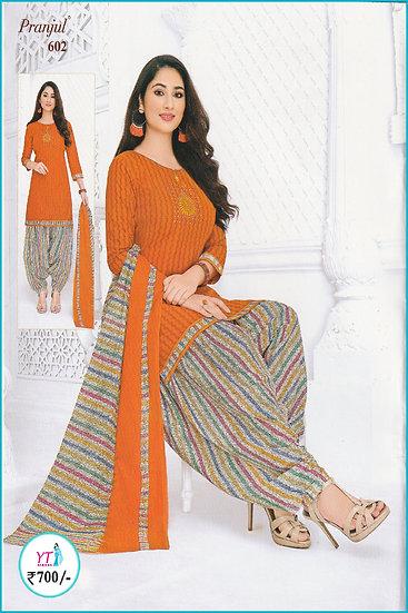 Pranjul Cotton Chudithar - Orange Grey YT