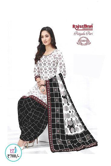 Rajasthan Cotton Chudithar - White Black YT
