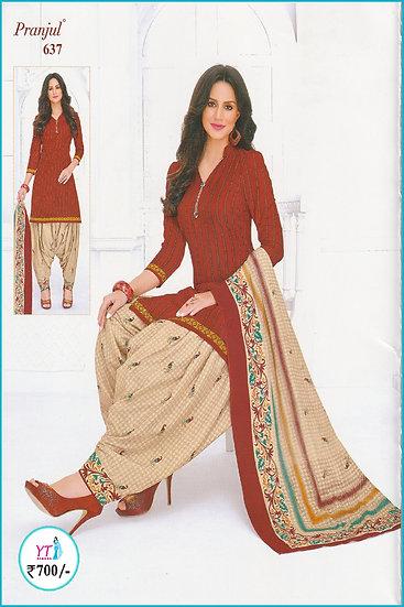 Pranjul Cotton Chudithar - Red Sandal Pattern YT