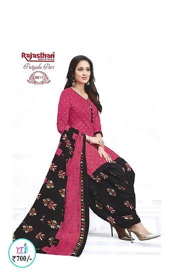 Rajasthan Cotton Chudithar - Pink Black YT