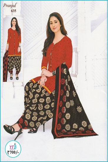 Pranjul Cotton Chudithar - Red Black Floral YT