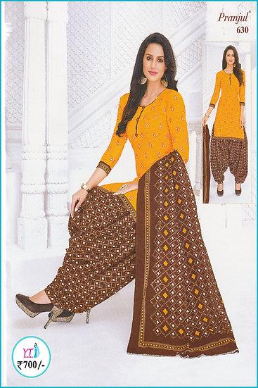 Pranjul Cotton Chudithar - Yellow Brown Design YT