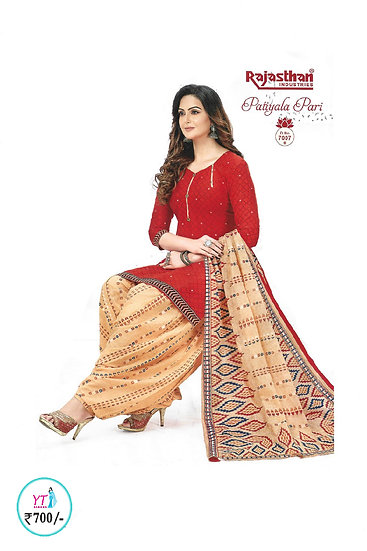 Rajasthan Cotton Chudithar - Red Sandal YT