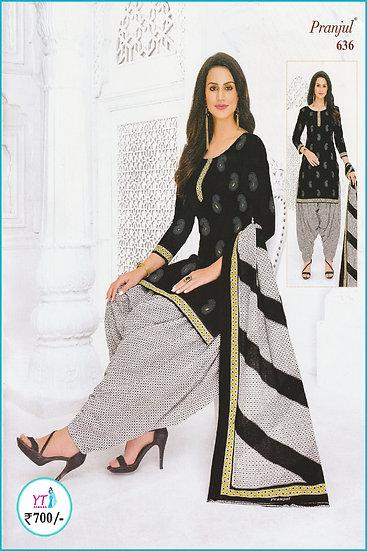 Pranjul Cotton Chudithar - Black White Checked YT