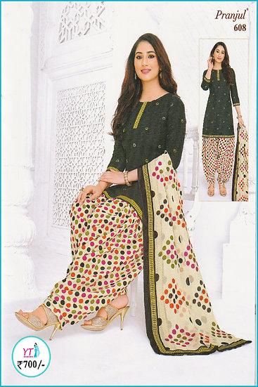 Pranjul Cotton Chudithar - Green Sandal Spots YT