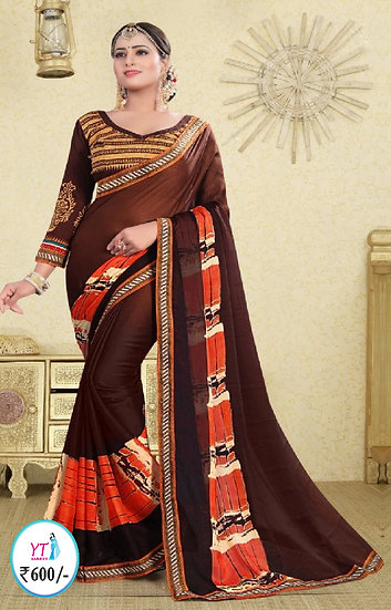 Georgette Chiffon with Lace Border - Chocolate Brown