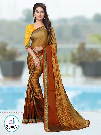 Printed Chiffon with Lace Border - Golden Brown