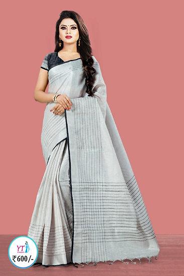 YT Tissue Linen - Silver with Black Border