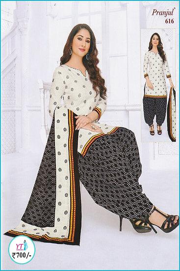 Pranjul Cotton Chudithar - White Black YT