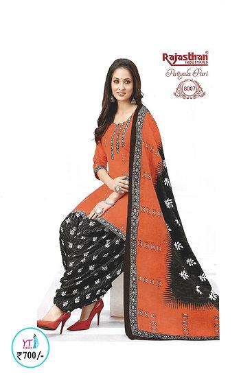 Rajasthan Cotton Chudithar - Orange Black YT
