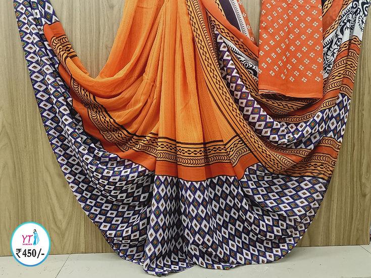 Georgette Orange - Fancy Collection