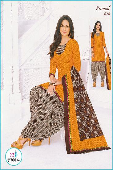 Pranjul Cotton Chudithar - Orange Brown Pattern YT