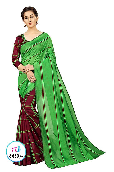 YT Half Saree with Checks - Green Red