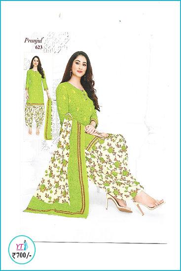 Pranjul Cotton Chudithar - Pista Green D Floral YT