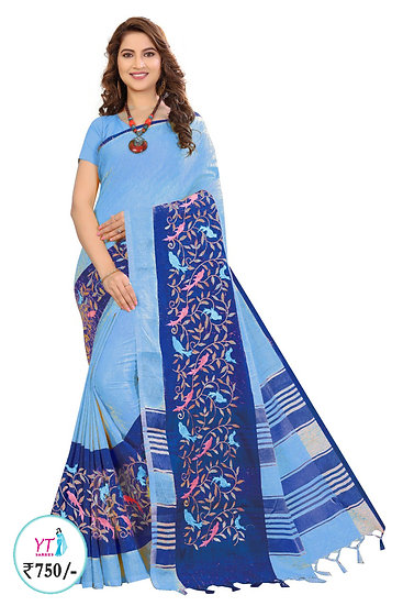 YT Linen Cotton with Embroid Border - Blue