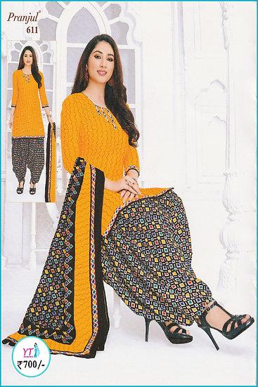 Pranjul Cotton Chudithar - Orange Black YT