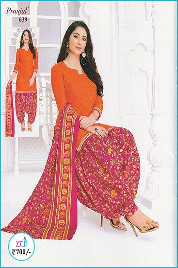 Pranjul Cotton Chudithar - Orange Pink Floral YT