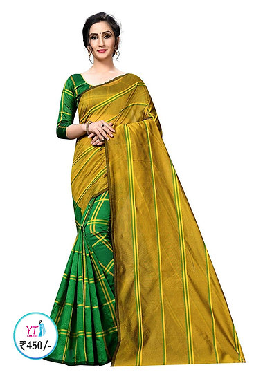 YT Half Saree with Checks - Yellow Green