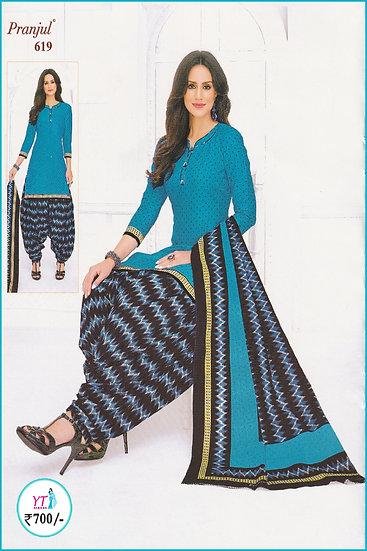 Pranjul Cotton Chudithar - Blue D Waves YT