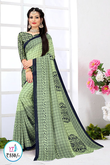 YT Checked Vichithra - Mint Green