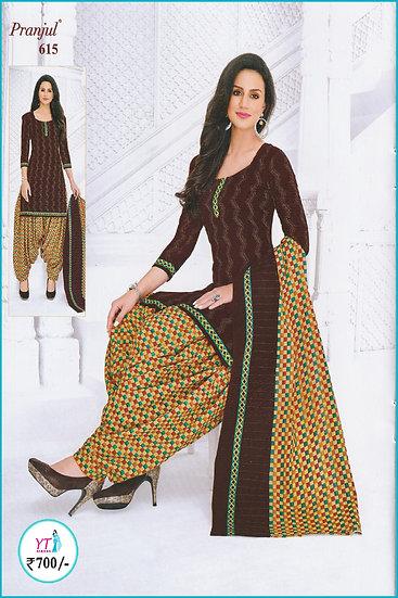 Pranjul Cotton Chudithar - Brown Sandal YT