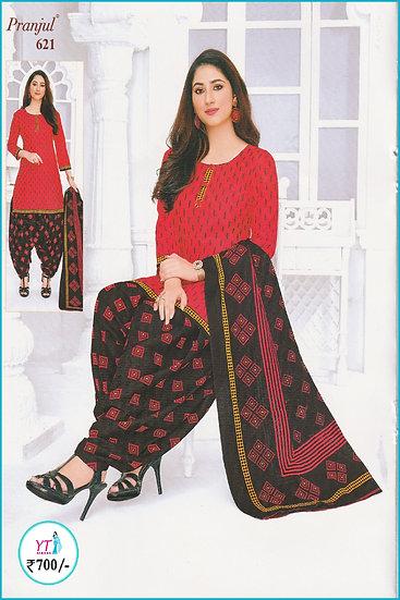 Pranjul Cotton Chudithar - Red Black Diamond YT